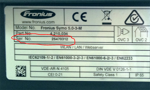 how to find fronius serial number